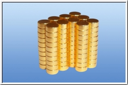10 x gold plated neodymium magnet discs: 5 x 2 mm